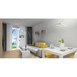 Salon skandynawski, dodatki zółte, salon w kolorze biały, szary i drewno