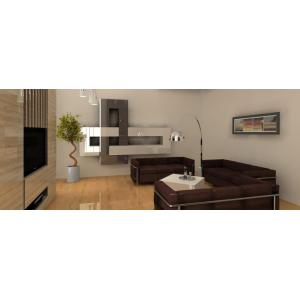 Salon w stylu nowoczesnym,brąz,drewno,nowoczesna meblościanka w salonie, brązowe sofy, pomysł na scianę z kominkiem
