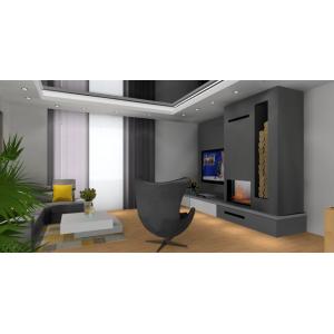Nowoczesny salon z kominkiem na ścianie telewizyjnej