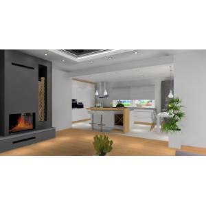 Nowoczesny salon z kuchnią - kuchnia oddzielona od salonu wyspą, kolory - biały, szary drewno