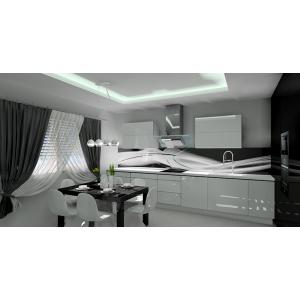 Kuchnia nowoczesna biało-czarna, szkło na ścianie z grafiką biało-czarne, blat biały, stół czarny, płytki na podłodze białe