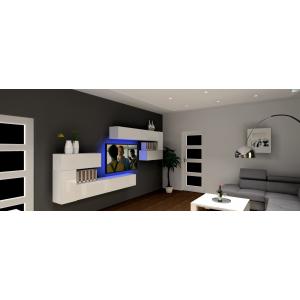 Nowoczesna ściana TV , białe meble, szary narożnik, nowoczesna stojąca lampa