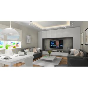 Nowoczesna zabudowa ściany TV w salonie, kolor biały, biały stół, szare sofy,biały stoliczek kawowy
