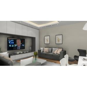 Pokój dzienny, gościnny, duża szafa przesuwna,biała, nowoczesne sofy,zabudowa ściany RTV,białe meble ,nowoczesny sufit z oświetleniem