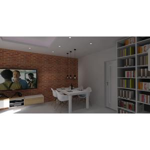Ściana z cegłą , biały stół z krzesłami, szafka RTV biała z drewnem, miejsce na książki w salonie