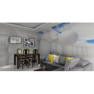 Salon z fototapetą 3d, szary narożnik, drewniany stół,podwieszany sufit