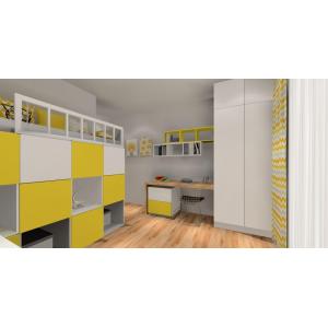 Pomysł na pokój dzieci, biały, żółty, łóżko z antresolą, białe biurko, szafa,zasłony szaro żółte