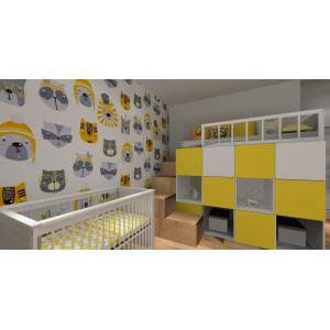 Pokój dla rodzeństwa, biały żółty, nowoczesna tapeta dla dzieci, łóżko z antresolą, łóżeczko niewolęce