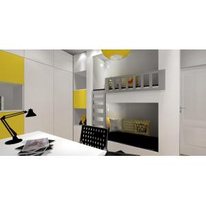 Łóżko piętrowe w pokoju dzieci, pokój biało, szary , żółty, miejsce do spania dla rodzeństwa