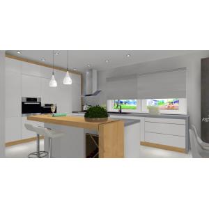 Projekt kuchni - biały i drewno, wysoka zabudowa,wyspa kuchenna