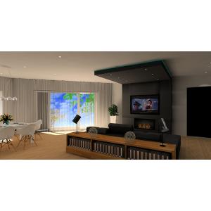 Ściana TV w nowoczesnym salonie, brąz,biały, kominek pod telewizorem