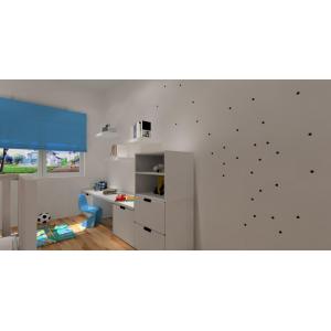 Białe meble Ikea w pokoju dziecka, ozdoba na ścianie, krzesełko panton