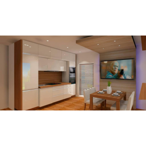 Nowoczesna kuchnia biała z drewna, szafki białe, blat drewnopodobne, stół, telewizor w jadalni, sufit podwieszany w jadalni