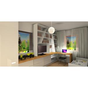 Pokój dla nastolatka biały z drewnem, szafa biała, półki białe, blaty drewopodobne, łóżko białe, biurko drewniane pod oknem