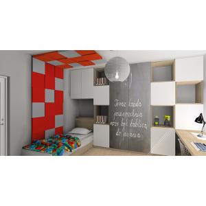 Pokój dla nastolatka biały, szary, czerwony, panele 3d szaro-czerwone, szafa, drzwi tablica kredowa, biurko - blat pod oknem