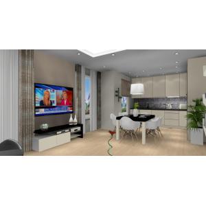 Projekt salonu z kuchnią, nowoczesne wnętrze, brąz, beż, czarny