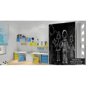Projekt pokoju dla dzieci, nowoczesny pokój, biały, żółty, niebieski