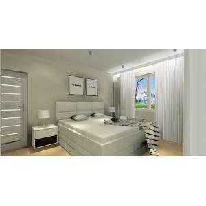 Projekt sypialni, nowoczesne wnętrze, w kolorze beż, biały, czarny