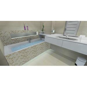 Projekt łazienki, wnętrze nowoczesne, beż, biały, brąz