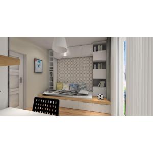 projekt pokoju dziecka chłopca w stylu skandynawskim, w kolorze biały, drewno, szary