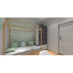 Projekt pokoju dla dziewczynki, skandynawski styl, łóżko domek