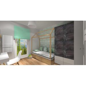 Projekt pokoju dla dziewczynki styl skandynawski w kolorach biały, drewno, szary
