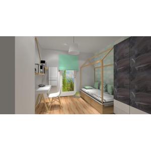 projekt pokoju dziewczynki chłopca, biały, drewno, szary