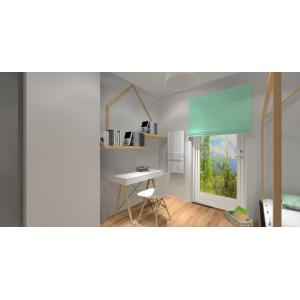 projekt pokoju dziecka dziewczynki w stylu skandynawskim, w kolorze biały, drewno, szary
