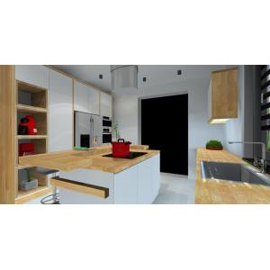 Projekt kuchni białej z drewnem, styl nowoczesny