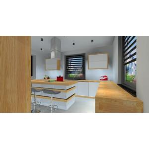 Projekt kuchni nowoczesnej w kolorze biały, szary drewno