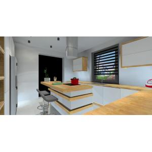 Projekt kuchni w stylu nowoczesnym, biały, szary, drewno