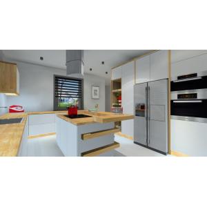 aranżacja kuchni w kolorze biały, drewno, szary