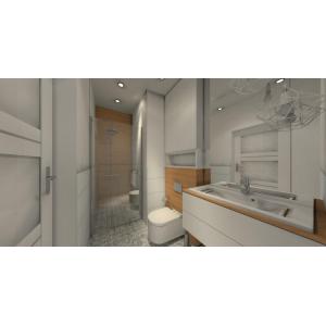 Projekt łazienki w kolorze biały, drewno, styl skandynawski