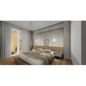 Projekt sypialni skandynawskiej, biały, szary, drewno, tapeta sosny