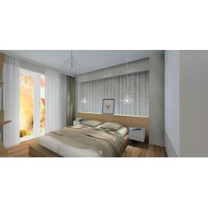 Projekt sypialni styl skandynawski, biały, drewno, szary