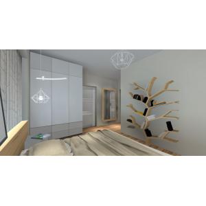 Projekt wnętrza sypialni, styl skandynawski, drzewo na książki