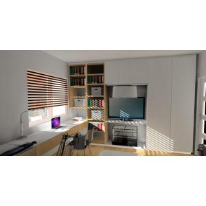 Pomysł na pokój nastolatka,białe meble, miejsce na ksiązki, biurko pod oknem, szafa do sufitu