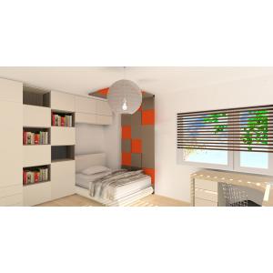 Nowoczesny pokój dla nastolatka, szary, pmarańczowy,panele 3d na ścianie, meble w zabudowie w pokoju dziecka