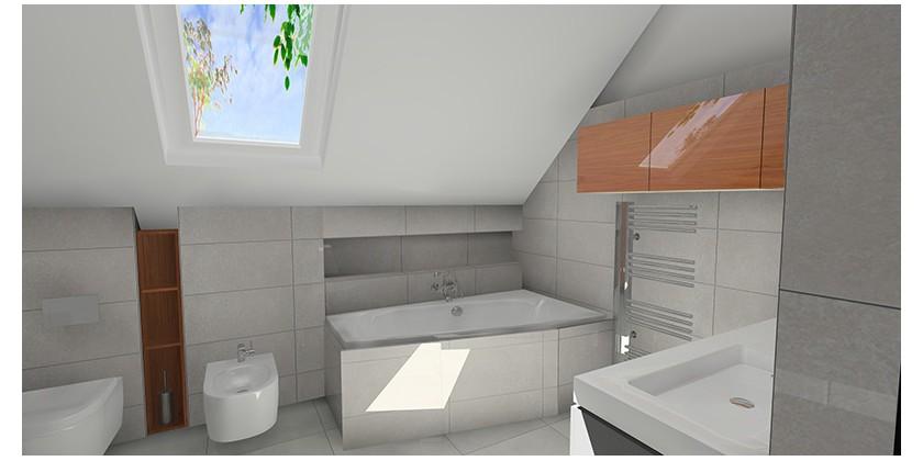 łazienka Na Poddaszu Z Płytkami Beton