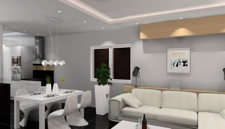Projekt salonu z aneksem kuchennym