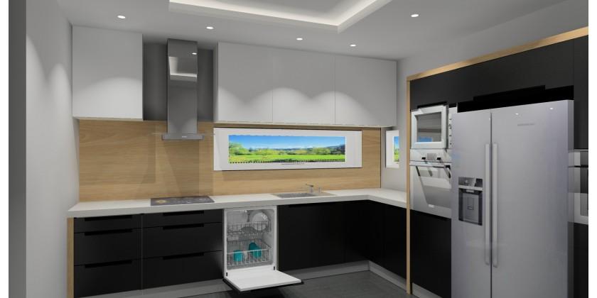 Kuchnia  Biało czarna kuchnia z drewnem -> Kuchnia Czarna Z Drewnem