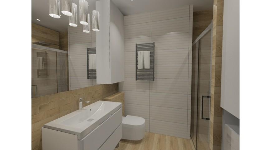 Biała łazienka Z Drewnem Aranżacjaprojekt łazienki Nowoczesnej