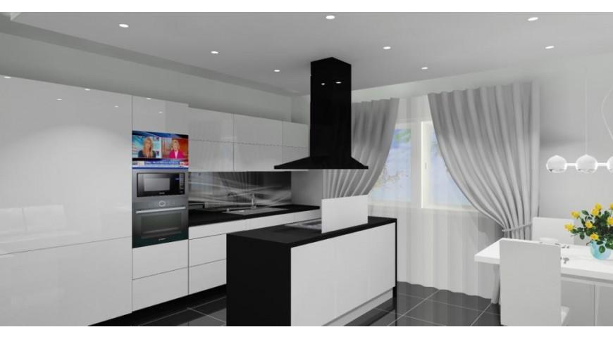 Nowoczesna kuchnia Pomysł na projekt kuchni biało czarnej w stylu nowoczesnym -> Kuchnia Bialo Czarna Nowoczesna