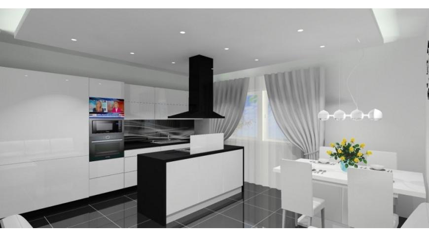 Nowoczesna kuchnia Pomysł na projekt kuchni biało czarnej   -> Kuchnia Bialo Czarna Z Oknem
