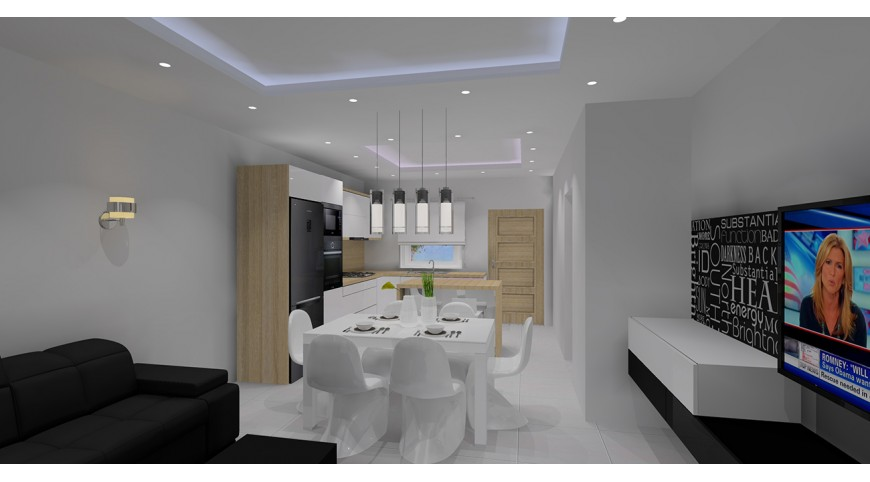 Kuchnia otwarta na salon  projekt salonu z aneksem -> Sufit Kuchnia Salon