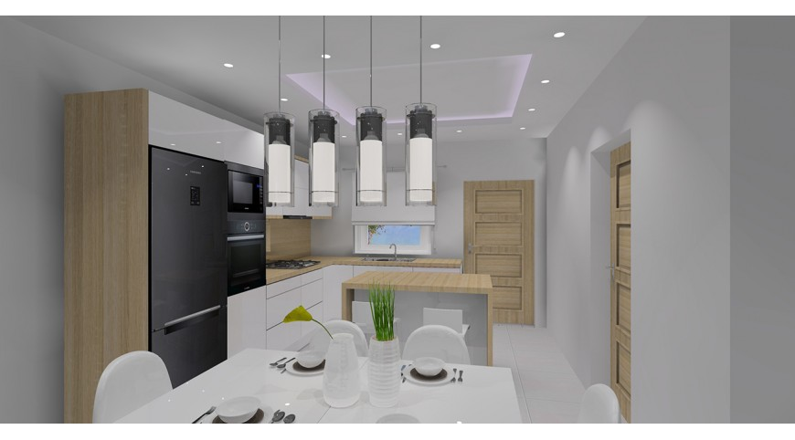 Kuchnia otwarta na salon  projekt salonu z aneksem -> Kuchnia Z Salonem Sufit Podwieszany