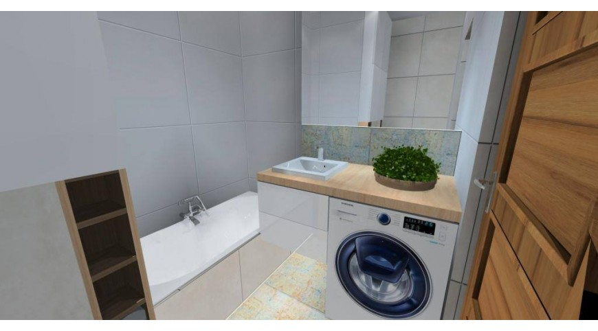 łazienka W Szarościach I Drewnie Aranżacja Projekt